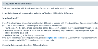 American Airlines 110% Best Price Guarantee