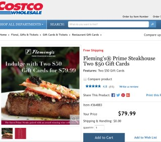 Fleming's Prime Steakhouse Two $50 Gift Cards at Costco for $79.99