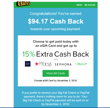 Up to 15% Extra Cash Back at ebates