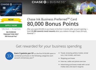 NEW - Chase Ink Business Preferred