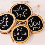 DIY Chalkboard Wood Slice Ornaments