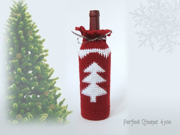 Christmas Wine Bottle Bag Pattern Christmas Gift Idea Crochet Wine Bag Tutorial Hostess Gift