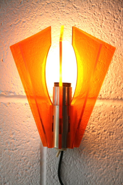 1970s Orange Plastic Wall Light Cream And Chrome
