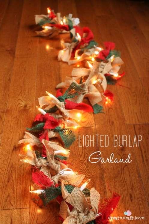 Lighted Burlap Garland via createcraftlove.com #burlap #25daysofchristmas #garland