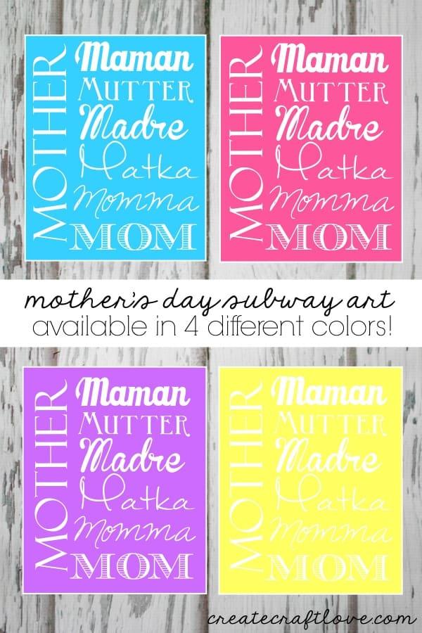 Mother\u0027s Day Subway Art Printables