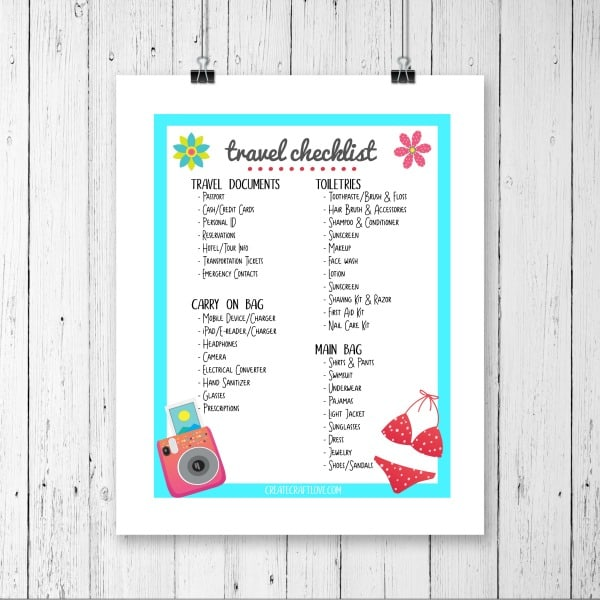 Travel Checklist Printable - Create Craft Love - Travel Checklist