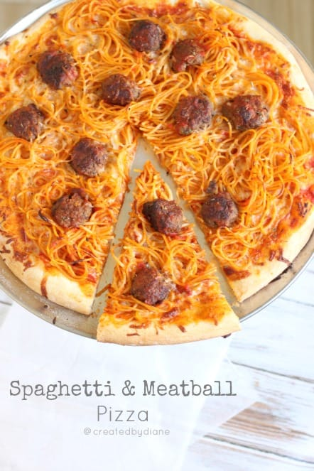 spaghetti  Meatball Pizza Created by Diane