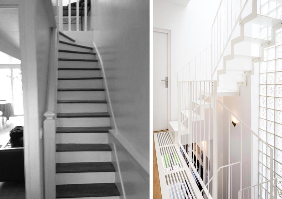 Avant - Après  Rénovation d\u0027une maison de ville avec un escalier - Amenagement De La Maison