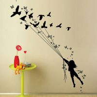 DCWV HOME  Wall Art  Black Vinyl  Girl With Birds