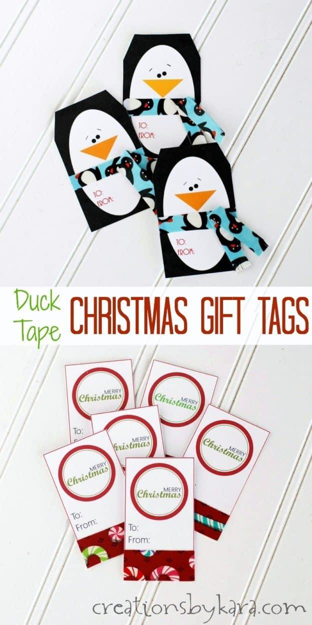 Printable Christmas gift tags with Duck tape