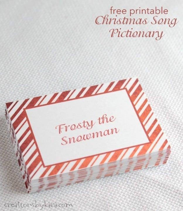 Christmas Songs Pictionary- free Christmas game