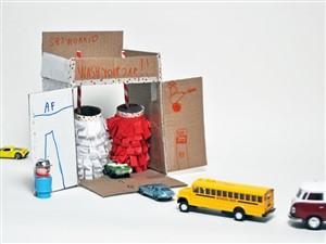 spalatorie de carton - o lume de vis pentru copii din cutii de carton -