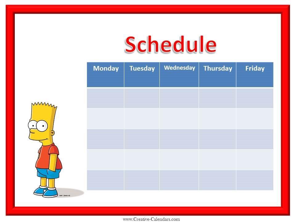 weekly calendars 2019