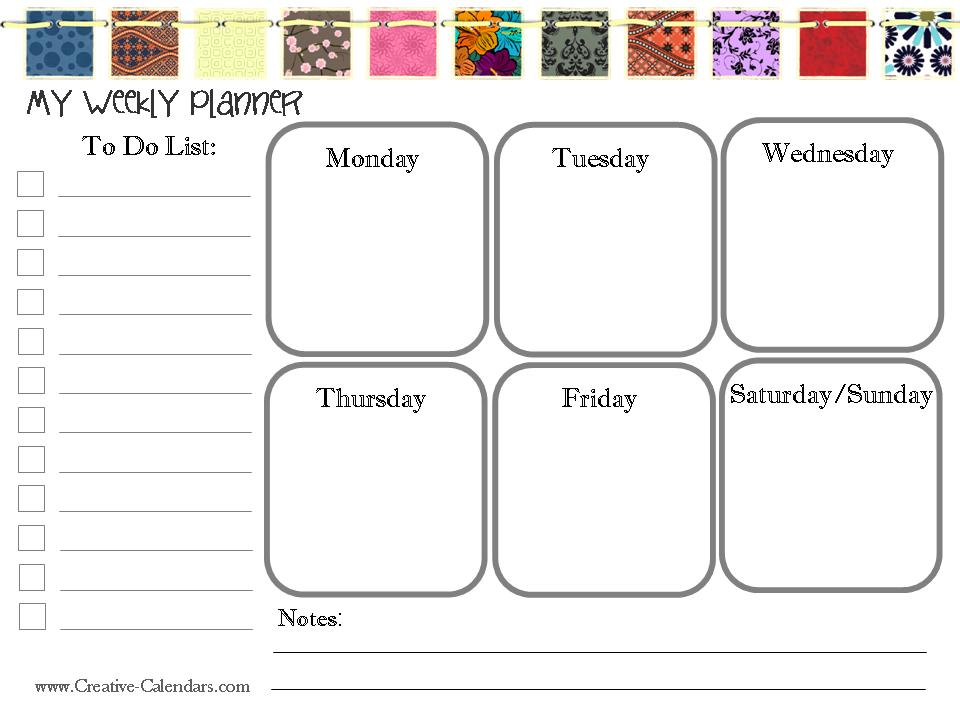 Free Printable Weekly Planner - Free Weekly Calendar
