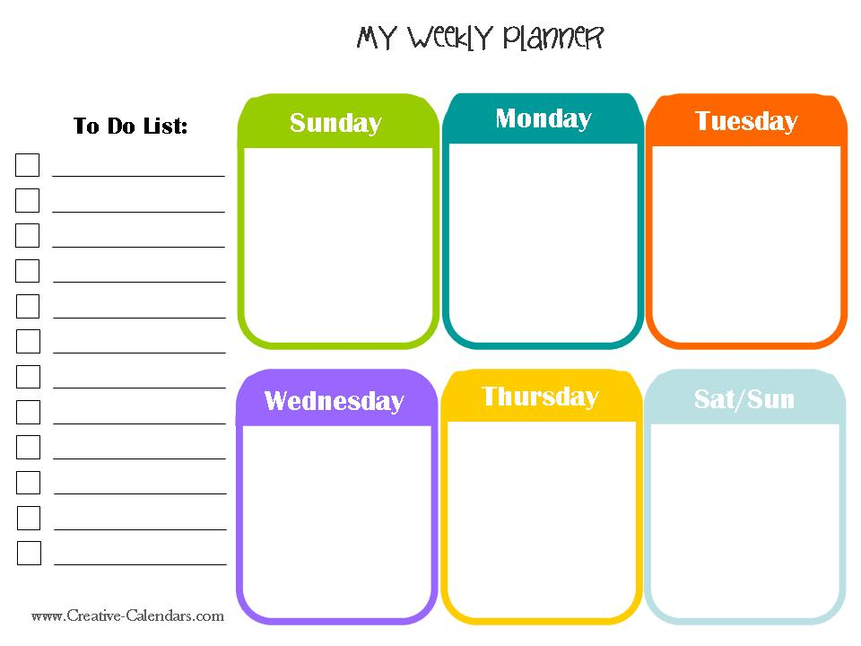 kids daily planner template - monday to sunday schedule template