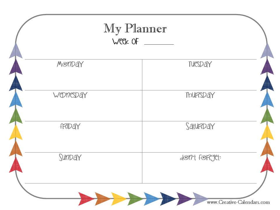 Free Printable Weekly Planner - monday to sunday schedule template