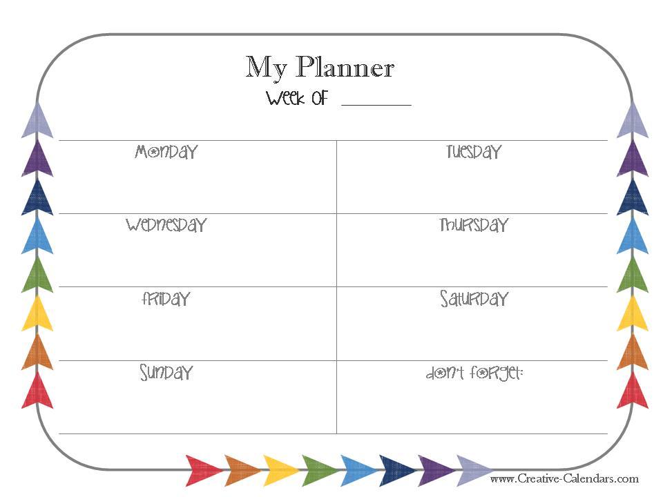 Free Printable Weekly Planner - free printable weekly planner