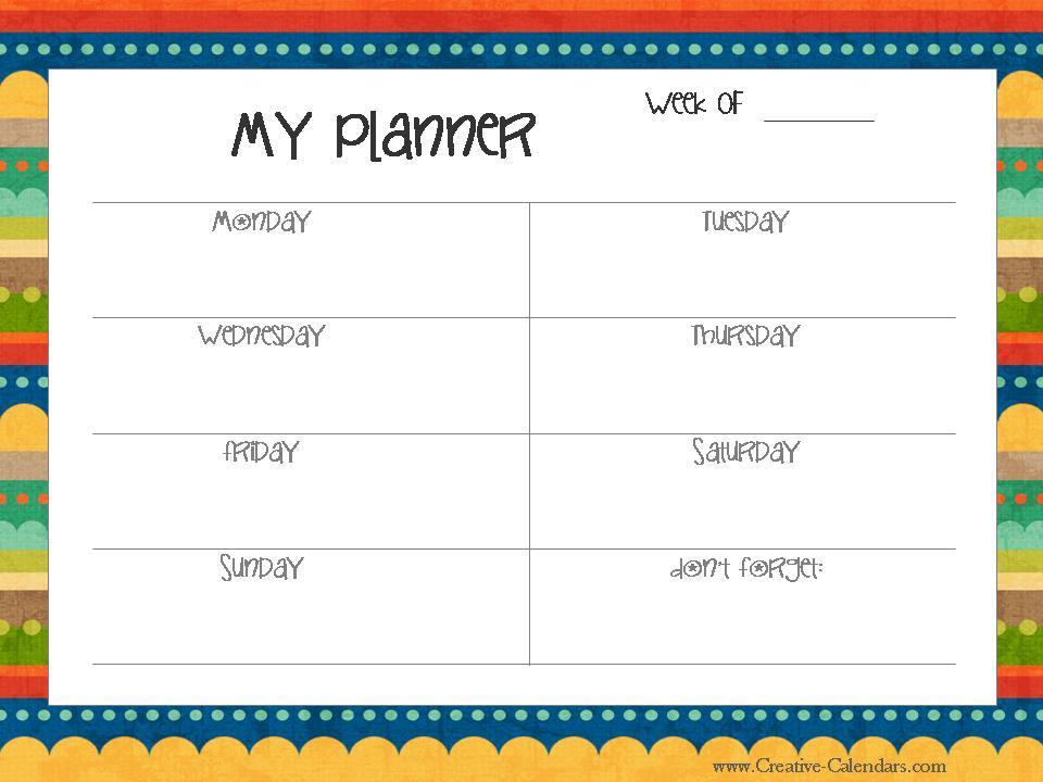 Kids Weekly Calendar Template Erieairfair