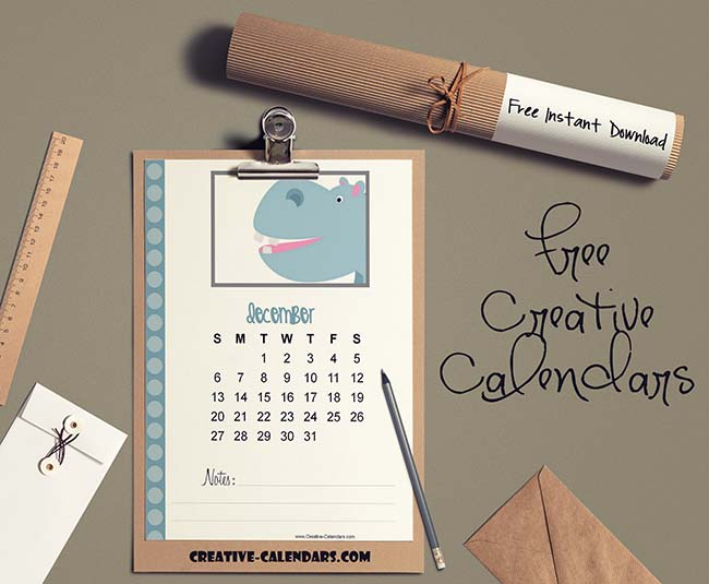 Cute Calendar with Animals Customize online and print at home
