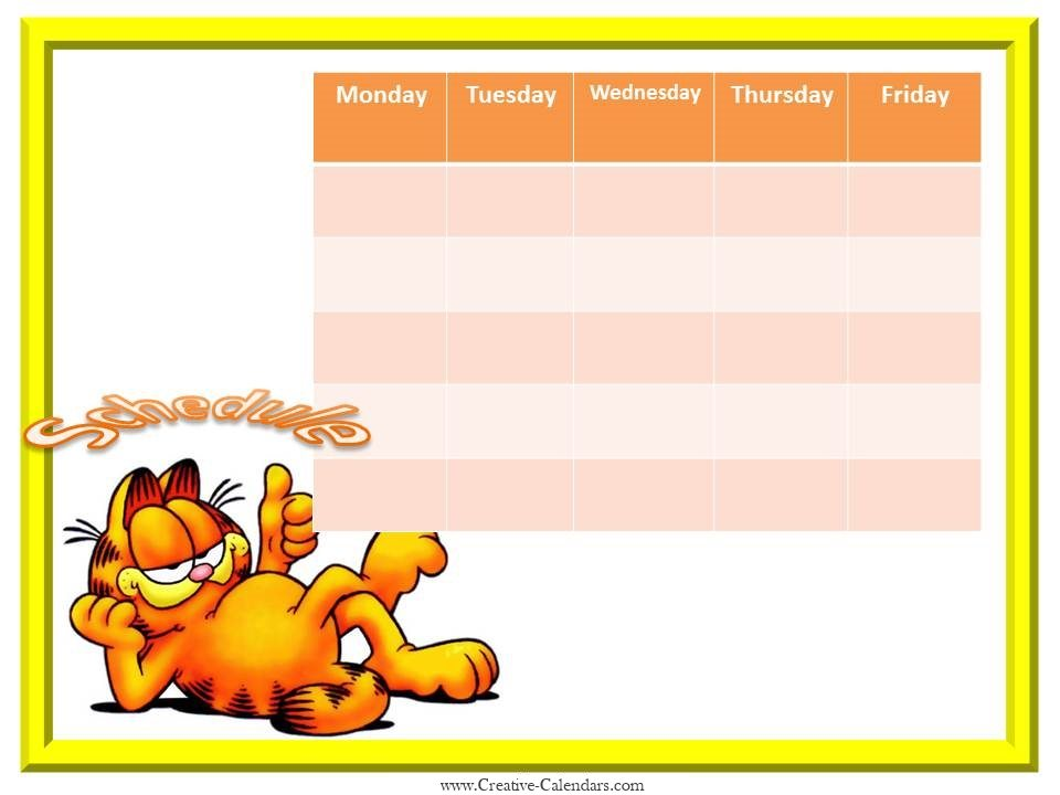 Free Weekly Calendars for Girls - free weekly calendar template