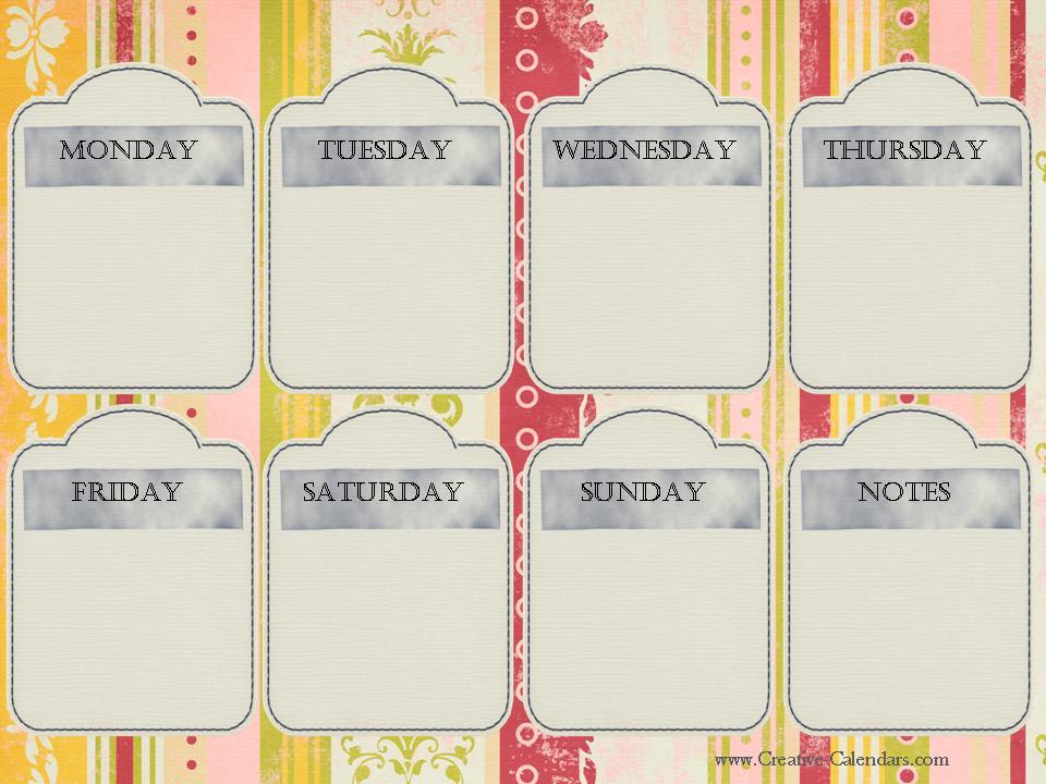 Printable Weekly Calendar - cute weekly homework planner template