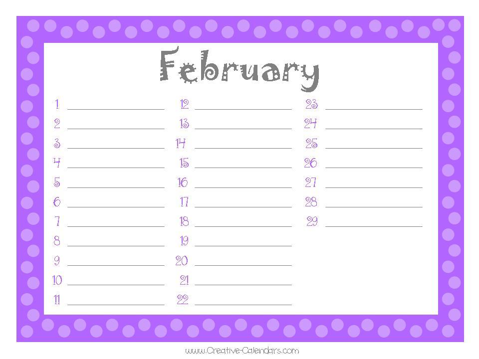 Free Printable Birthday Calendar Template - birthday list template