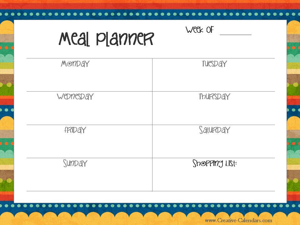 Printable Meal Planners - printable meal planner