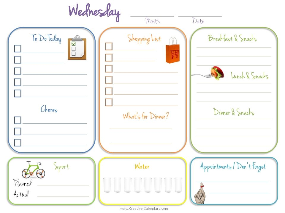 Daily Planner Template - daily calendar template