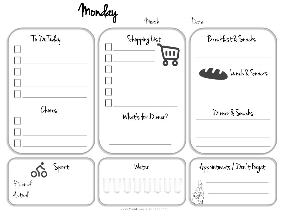 Daily Planner Template - downloadable daily planner