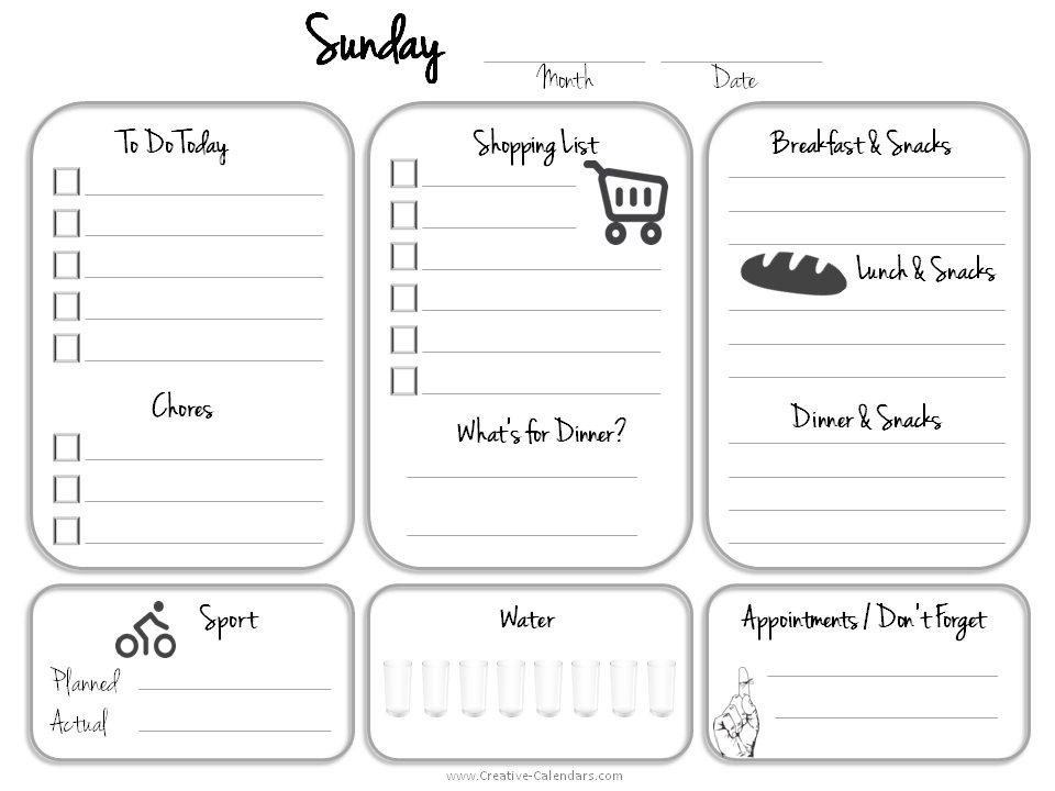 free printable daily calendar template