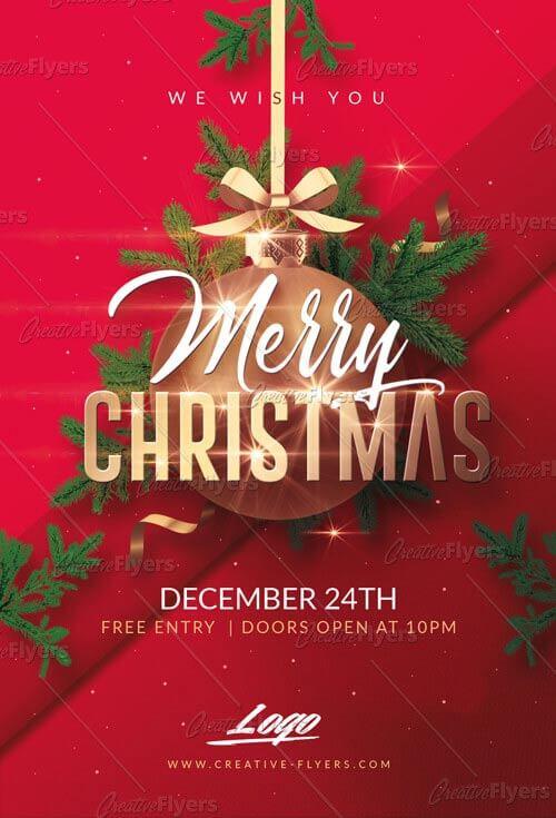 Merry Christmas PSD Templates Invitation - Creative Flyers