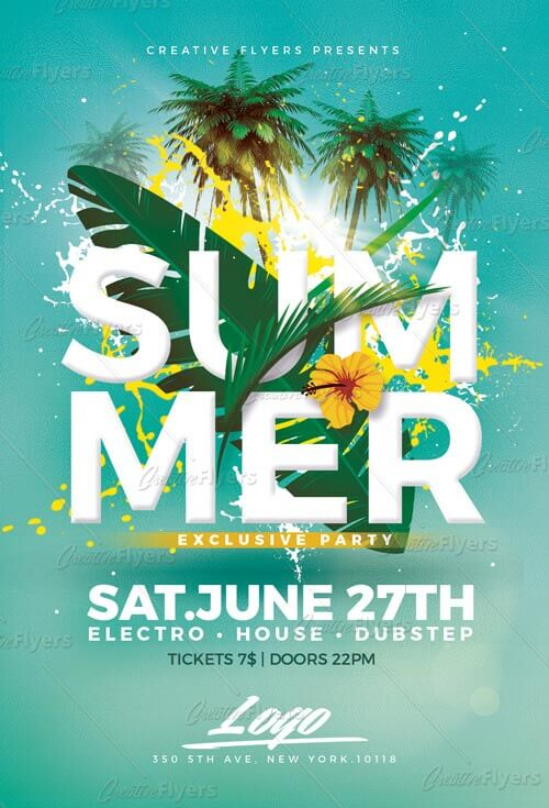 Summer Party Psd Flyer Templates - CreativeFlyers