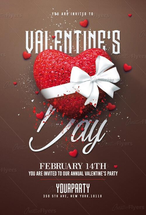 Beautiful Valentine\u0027s Day Flyer PSD ~ Creative Flyers