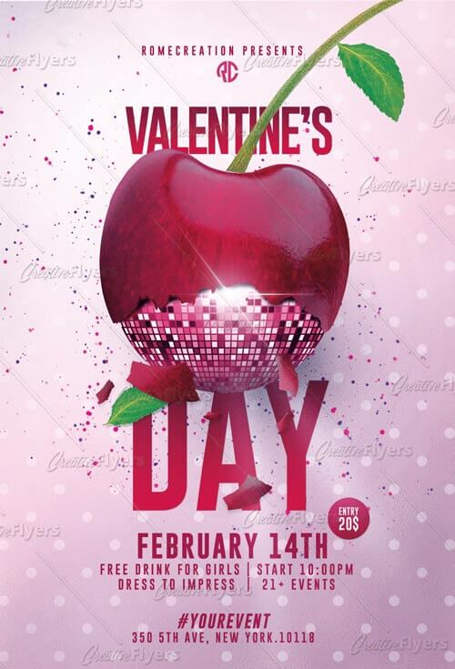 Customizable Valentines Day Flyer PSD ~ Creative Flyers