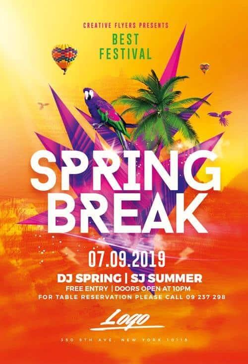 Download Flyer Spring Break Psd Template - Creative Flyers - spring flyer template