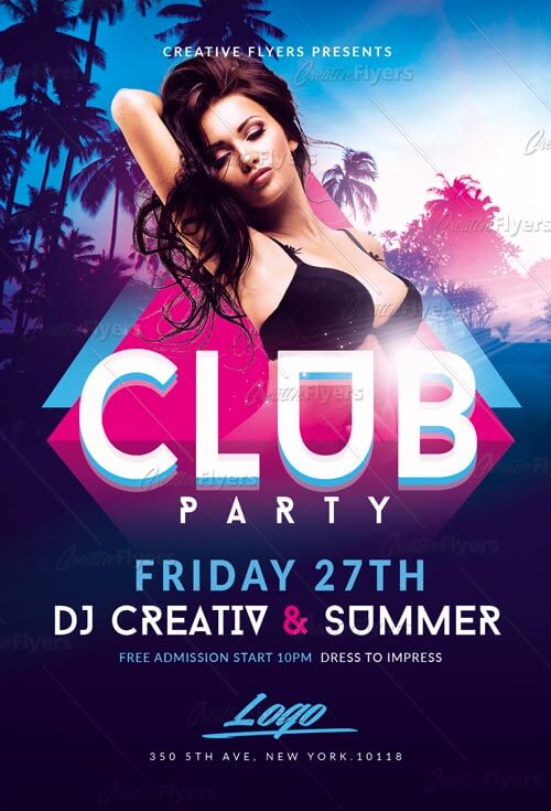 Summer Club Party Flyer Template - Creative Flyers