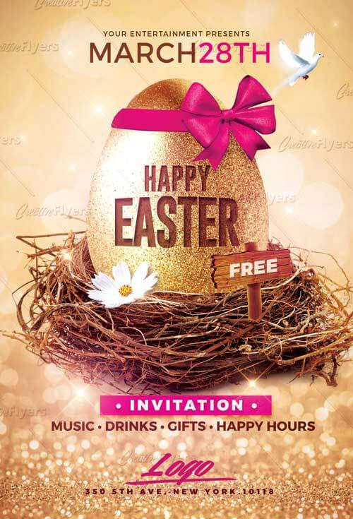 Happy Easter Flyer Template Photoshop PSD - Creative Flyers