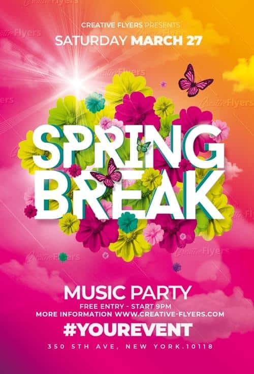 Spring Break Psd Flyer Templates - CreativeFlyers