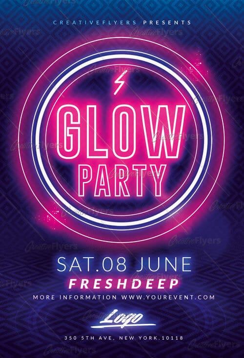 Download Glow Party Flyer Templates Psd - Creative Flyers