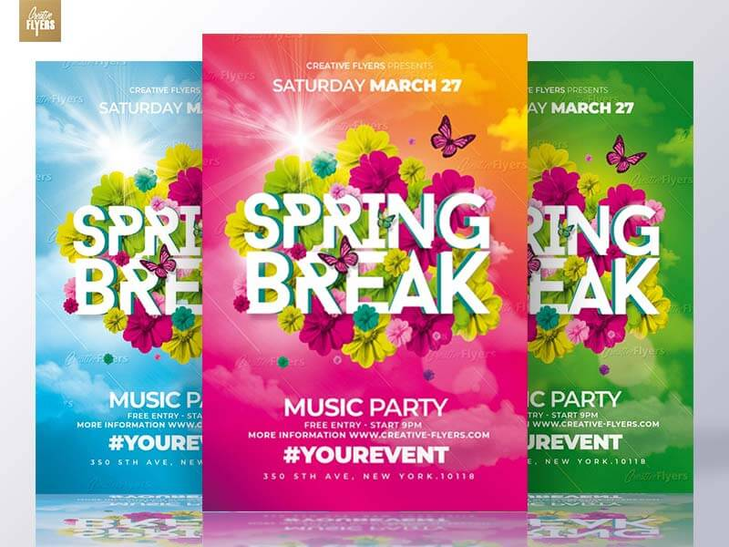 Spring Break Psd Flyer Templates - CreativeFlyers - free e flyers