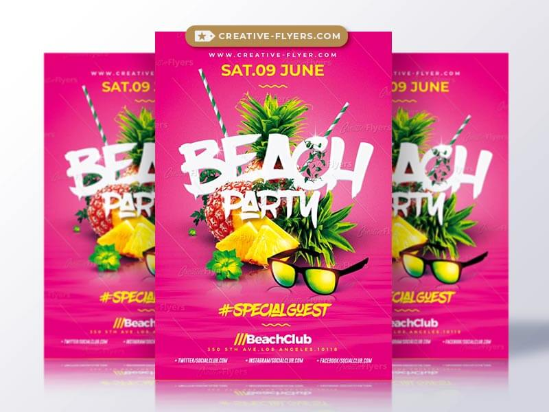 Amazing Beach Party flyer PSD Template - CreativeFlyers