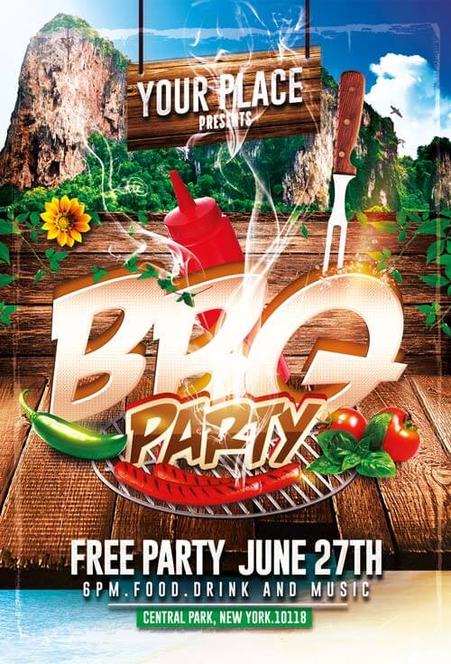 BBQ Party Flyer Templates PSD 003 - Creativeflyers