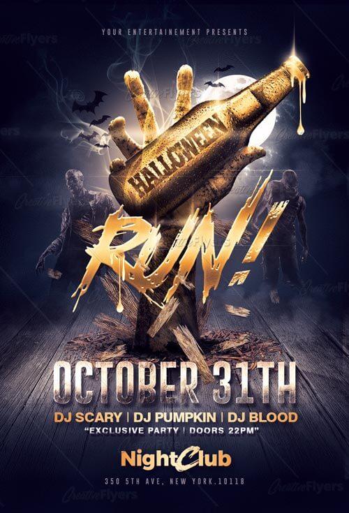Halloween flyer Templates Psd Club Party - Creative Flyers