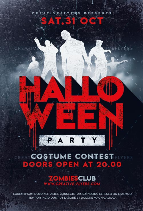 Halloween Party Flyer Templates Zombies Poster - Creative Flyers