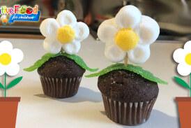 vaso di fiori con margherita di marshmallow e mini muffin