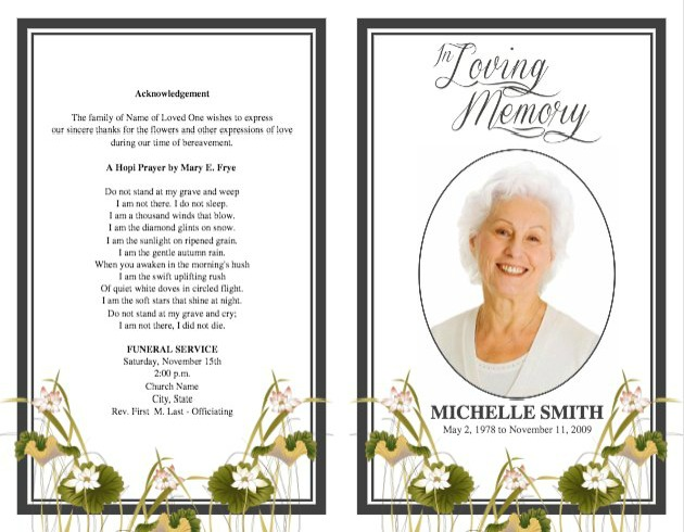 Memorial Card Template Template Memorial Card Design Ggpw09 - program for a funeral