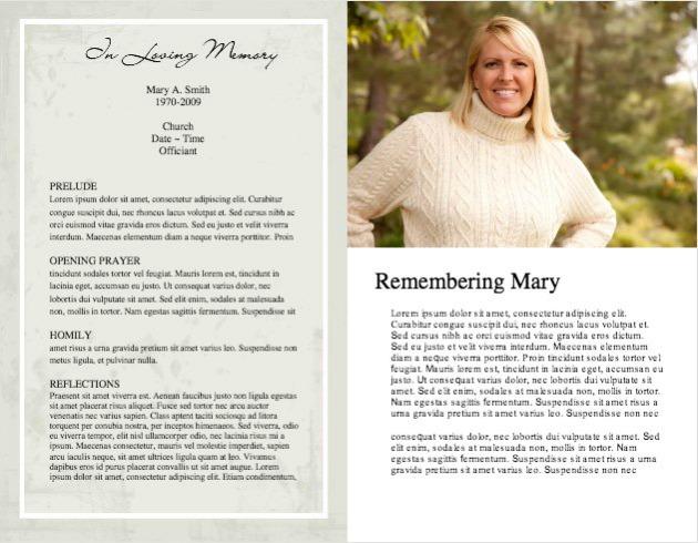 Funeral Program Template - memorial program