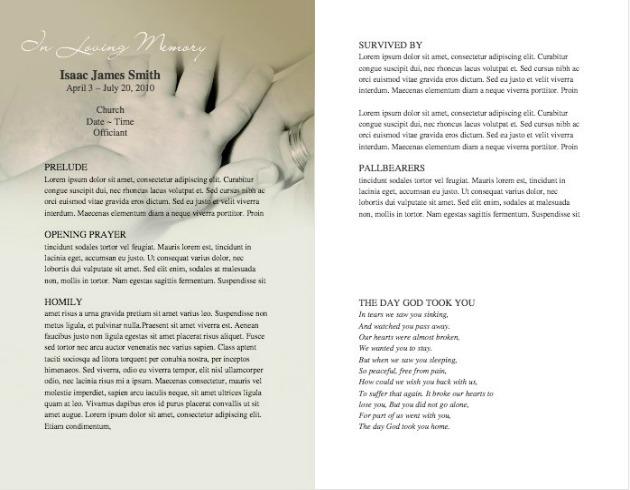 Child Funeral Program - funeral programs samples