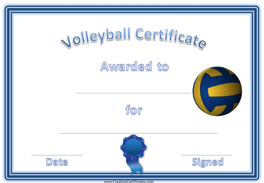 Free Volleyball Certificate Templates - Customize Online