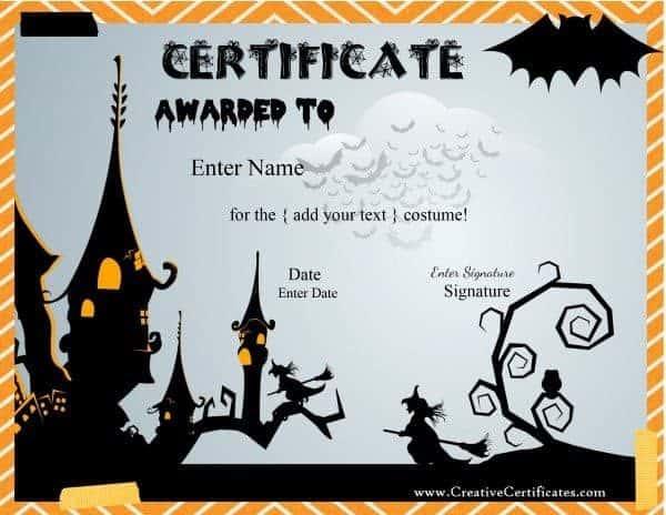 halloween awards certificates